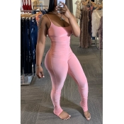 Lovely Sexy Fold Design Pink One-piece Jumpsuit