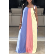 Lovely Casual Rainbow Striped Baby Blue Maxi Dress