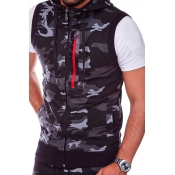 Lovely Stylish Camo Print Dark Grey Vest