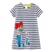 Lovely Sweet Striped Girl Knee Length Dress