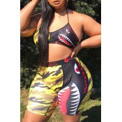 Lovely Trendy Print Multicolor Plus Size Two-piece