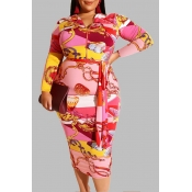 Lovely Trendy Print Bright Red Knee Length Plus Si