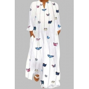 Lovely Casual Butterfly Print White Maxi Plus Size