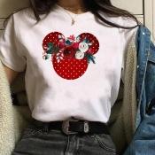 Lovely Casual Basic Print Rose T-shirt
