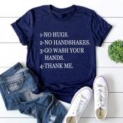 Lovely Leisure O Neck Letter Print Navy Blue Plus Size T-shirt