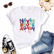 Lovely Leisure O Neck Print White T-shirt