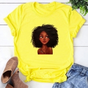 Lovely Leisure O Neck Print Yellow T-shirt