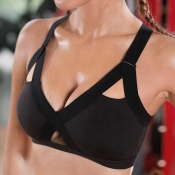 Lovely Sportswear Hollow-out Black Bras