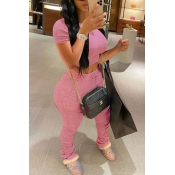 Lovely Casual Fold Design Pink Two-piece Pants Set