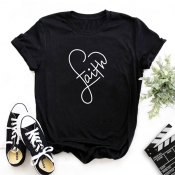 Lovely Leisure Heart Black T-shirt