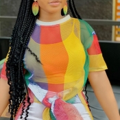 Lovely Leisure Rainbow Striped Multicolor T-shirt