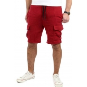 Lovely Sportswear Pocket Patched Red Shorts
