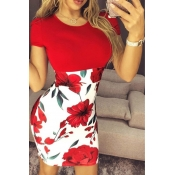 Lovely Casual Print Red Mini Plus Size Dress