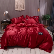 Lovely Cosy Flounce Design Wine Red Bedding Set