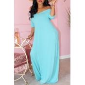 Lovely Casual Basic Skyblue Maxi Dress