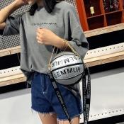 Lovely Trendy Basketball Silver Crossbody Bag