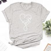 Lovely Leisure Heart Grey T-shirt