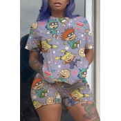 Lovely Casual Cartoon Print Grey Two-piece Shorts Set