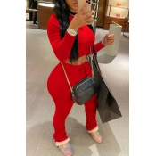 Lovely Casual Fold Design Red Two-piece Pants Set