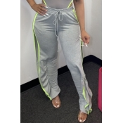 Lovely Leisure Side High Slit Grey Pants