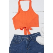 Lovely Casual Lace-up Orange Camisole