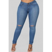 Lovely Stylish Hollow-out Blue Plus Size Jeans