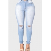 Lovely Stylish Hollow-out Baby Blue Plus Size Jean