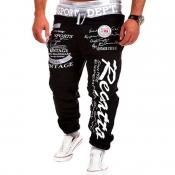 Men Lovely Sportswear Letter Black Pants