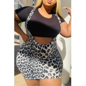 Lovely Sexy Print Black Plus Size Two-piece Skirt