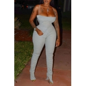 Lovely Sexy Fold Design Grey One-piece Jumpsuit