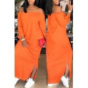 Lovely Casual Side Slit CrociAnkle Length Dress