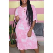 Lovely Leisure Tie-dye Pink Mid Calf Dress