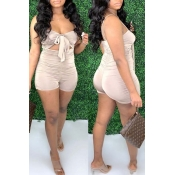 Lovely Sexy Fold Design Apricot One-piece Romper