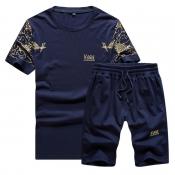 Men Lovely Sportswear Print Deep Blue Two-piece Shorts Set