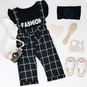 Lovely Sweet Grid Black Girl Two-piece Pants Set