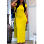 Lovely Casual O Neck Basic Yellow Ankle Length Dre