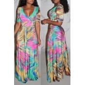 Lovely Bohemian V Neck Tie-dye Multicolor Maxi Dress