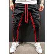 Men Lovely Sportswear Patchwork Red Pants