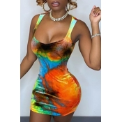 Lovely Sexy U Neck Tie-dye Multicolor Mini Dress
