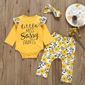 Lovely Stylish Letter Print Yellow Girl Two-piece