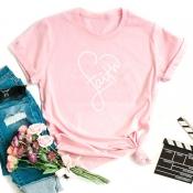 Lovely Leisure Heart Pink T-shirt