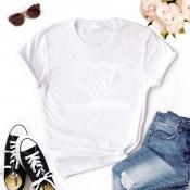Lovely Leisure Heart White T-shirt