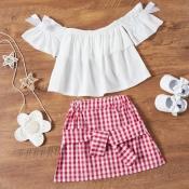 Lovely Sweet Grid Print White Girl Two-piece Skirt