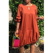 Lovely Casual O Neck Loose Brown Knee Length Dress