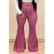 Lovely Trendy Grid Print Pink Pants