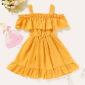Lovely Sweet Flounce Design Yellow Girl Mid Calf D