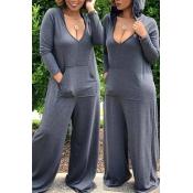 Lovely Leisure Deep V Neck Grey Plus Size One-piece Jumpsuit