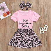 Lovely Casual Letter Print Pink Girl Two-piece Ski
