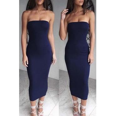 Lovely Trendy Dew Shoulder Navy Blue Ankle Length Dress