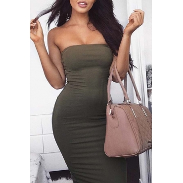 Lovely Trendy Dew Shoulder Army Green Ankle Length Dress